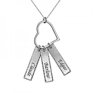 Shinelady Personalized Charm Bar Necklace now 60.0% off , Customized Three Rectangular Pendant for..