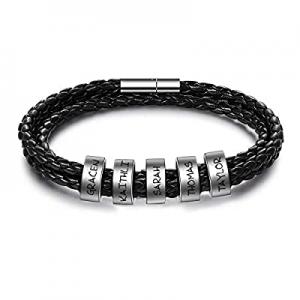 55.0% off Shinelady Personalized Men Black Bracelet with 2-6 Family Names Custom Engraved Beads Le..