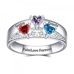 PalmLove Mothers Ring with 3 Birthstones Personalized now 60.0% off , Sterling Silver Custom Engra..