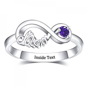 PalmLove Personalized Infinity Rings with Birthstone now 60.0% off , Custom Engraved Engagement Pr..