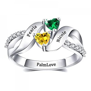60.0% off PalmLove Personalized Mothers Rings 2 Simulated Birthstones Custom Engraved Sterling Sil..
