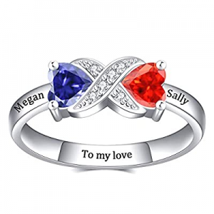 PalmLove Personalized Promise Rings now 70.0% off ,Sterling Silver Custom Mothers Ring with 2 Birt..