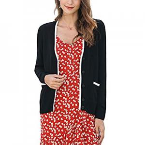 Women's V Neck Button Down Cardigan Lightweight Classic Pocket Cardigan now 50.0% off
