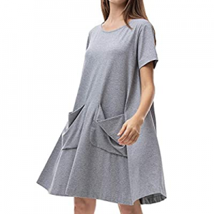 40.0% off MessBebe Women's Plain T Shirt Dresses Cotton Sleepwear Midi Dresses with Pocket for Wom..