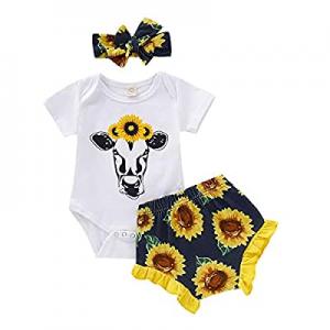 Newborn Baby Girl Clothes 3Pcs Sunflower Wild Ox Romper + Short Pants + Headband Summer Outfit Set..