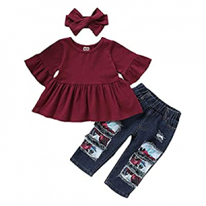 One Day Only!45.0% off ZOEREA 3PCS Toddler Girls Clothes Summer Sunflower Outfit Ruffle Sleeve T-S..