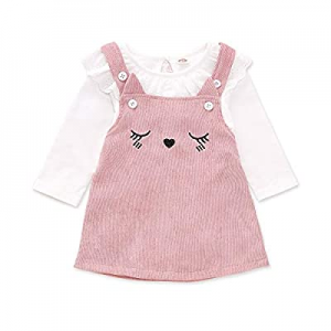 One Day Only!51.0% off Baby Girl Ruffle Dresses Summer Clothes Striped T-Shirt with Skirt Set Outf..
