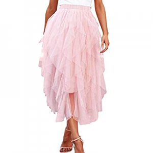 One Day Only!40.0% off Angashion Women Tulle Skirt Formal Asymmetrical Layered A Line Midi Tea-Len..