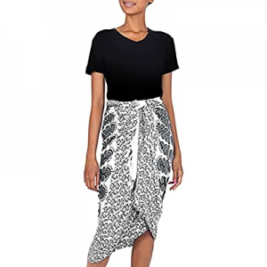 NOVICA White Black Batik Rayon Sarong Beach Swimsuit Cover Up, White Sun' now 80.0% off