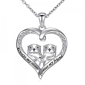 925 Sterling Silver Animal Jewelry Sea Otter Heart Pendant Necklace for Women now 50.0% off
