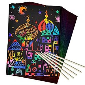 ZMLM Scratch Art Set now 40.0% off , 50 Piece Rainbow Magic Scratch Paper for Kids Black Scratch O..