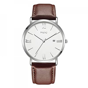 Brown Leather Watch for Men now 70.0% off , Mens Slim Minimalist Wrist Watches with Leather Band, ..