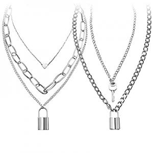 Lock Chain Necklace now 10.0% off , Egirl Chains, Statement Lock Key Pendant Necklace Silver Set E..