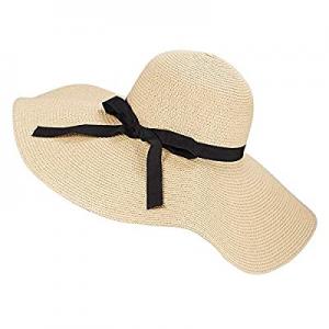 Womens Wide Brim Straw Sun Hat Beach Panama Floppy Foldable Roll up Cap Fedoras Summer UPF50+ now ..