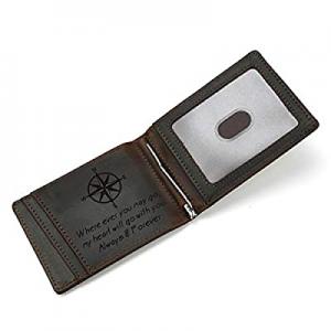 LUUFAN Men's Leather Wallet Slim Minimalist Engraved Money Clip Card Case with ID Window now 70.0%..