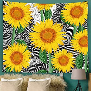 Bonsai Tree Sunflower Tapestry now 80.0% off , Nature Florals Womens Tapestry Wall Hanging Trippy,..