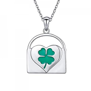 925 Sterling Silver Four Leave Clover Heart Lock Pendant Necklace for Women St. Patrick's Day Gift..