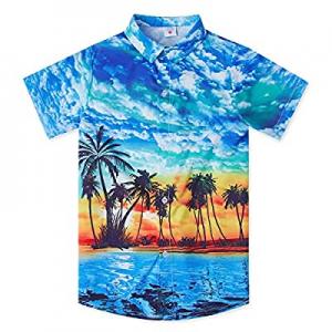 45.0% off uideazone Boys Hawaiian Shirts Novelty Printed Funky Short Sleeve Button Down Shirt Kids..