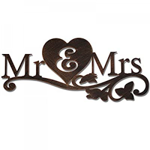 Mr & Mrs Metal Rustic Sign Wedding Gift above the Bed Sweetheart Wall Decor Large now 50.0% off