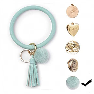 One Day Only!Evankin Leather Fluffy Tassel Bracelet Key Ring Chain now 25.0% off ,Bangle Key Chain..