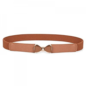 One Day Only!Skinny Belts for Women, SANSTHS Elastic Stretchy Bow Buckle Thin Cinch Belts for Dres..