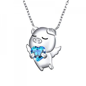 One Day Only!925 Sterling Silver Cute Animal Jewelry Cubic Zirconia Love Heart Pendant Necklace fo..