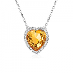 Beyond Love 12 Months Birthstone Necklace Heart Crystal Halo Pendant Jewelry for Women and Girls n..