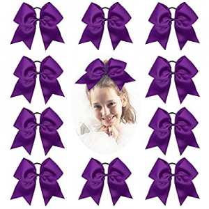 One Day Only!CN Girls Cheer Bow with Ponytail Holder for Cheerleading Girl, 7inch, 10pcs Purple La..