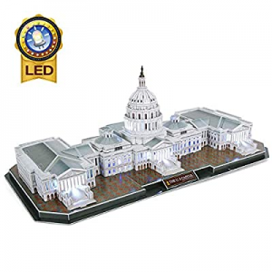 One Day Only!50.0% off CubicFun 3D Lighting Puzzle U.S. Capitol Washington with 6 LED Bulbs Archit..