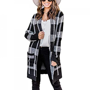 One Day Only!30.0% off MIROL Women's Buffalo Plaid Knit Cardigan Open Front Color Block Long Sweat..