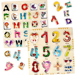 50.0% off Wooden Puzzles for Toddlers 1 2 3 Year Olds - Kids and Babies Matching Uppercase Alphabe..