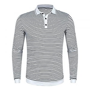 poriff Men's Casual Striped Long Sleeve Golf Polo Shirt Slim Fit Cotton Polo T Shirts now 70.0% off