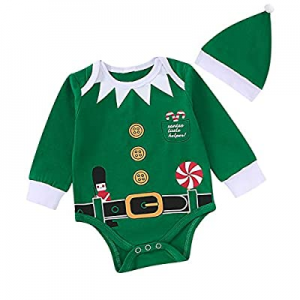 One Day Only!Christmas Elf Outfit Set Baby Boy Girl Xmas Striped Bodysuit with Hat now 50.0% off