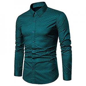 VANCOOG Mens Dress Shirts Regular Fit Long Sleeve Men Shirt now 50.0% off