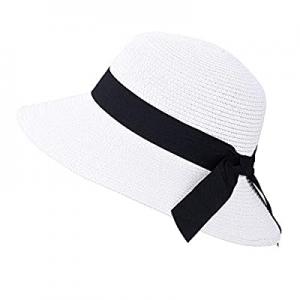 40.0% off Womens Straw Sunhat with Wind Lanyard Wide Brim Classics Beach Panama Hats Foldable Summ..
