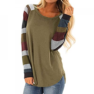 50.0% off Chase Secret Women Long Sleeve Striped Leopard Print Color Block Tops Casual Loose Fit P..