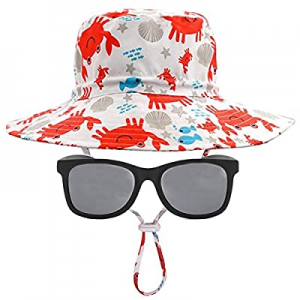 20.0% off Baby Sun Hat & Sunglasses Set – Beach Pool UPF 50+ Protection Wide Brim Adjustable Chin ..