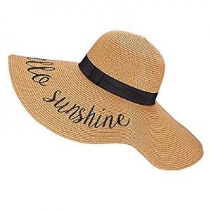 Womens Wide Brim Straw Sun Hat Beach Lady Panama Floppy Foldable Roll up Fedoras Summer UPF50+ now..