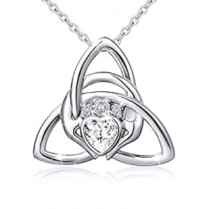 925 Sterling Silver Good Luck Irish Claddagh Celtic Knot Love Heart Pendant Necklace for Women Gir..