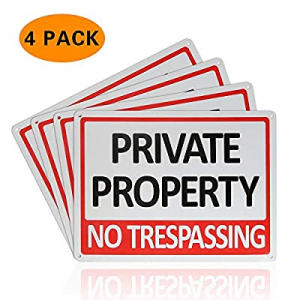 CETECK 4-Pack Private Property Sign now 15.0% off , No Trespassing Aluminum Warning Sign, 7x10 Inc..