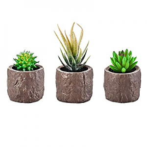 Shiny Flower 3-Pack Artificial Succulent Plants Potted now 50.0% off , Mini Fake Plant with Cement..