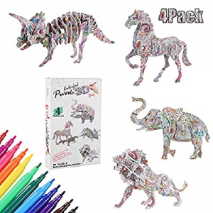 3D Coloring Puzzle Set now 58.0% off , 4 Pack Puzzles with 12 Pen Markers, Arts and Crafts for Gir..