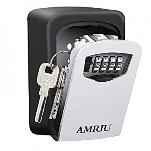 AMRIU Key Lock Box Storage Combination Realtor Key Safe Box Push Button Set Your Own Combination P..