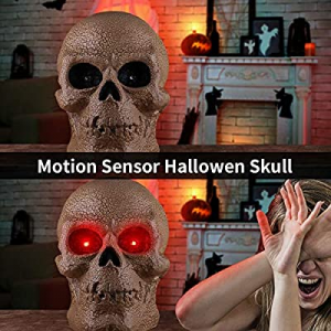 70.0% off OUSFOT Halloween Skull Decor Head Skeleton Motion Sensor Sound Activated Halloween Decor..