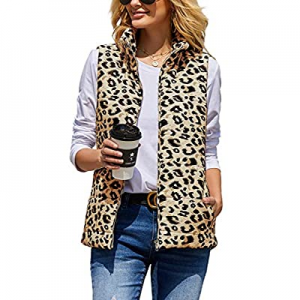 SySea Womens Leopard Quilted Padded Vest Stand Collar Zip Lightweight Gilet Outwear with Pockets n..