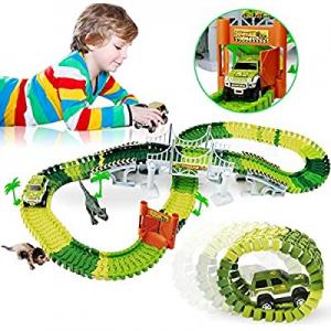 WINWONBRA Dinosaur Toys now 50.0% off ,142Pcs Race Car Flexible Track, Dinosaur Race Vehicle Track..