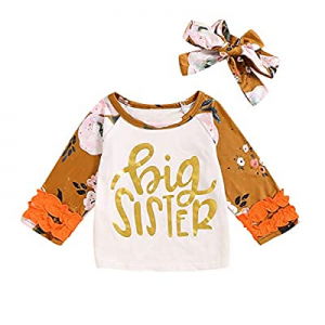 Aslaylme Big Sister Little Sister Matching Outfits Floral Pant Clothes Set now 60.0% off