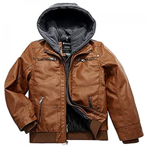 Wantdo Boy's Faux Leather Jacket Waterproof Zipper Coat with Removable Hood now 30.0% off