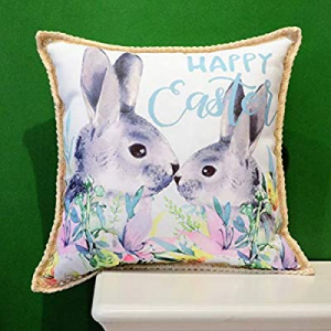 50.0% off Hahadidi Easter Throw Pillow Covers 18x18 Inch(45x45cm) Vintage Rabbit Pattern with Lett..