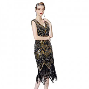 Radtengle Women's 1920s Great Gatsby Dress V Neck Fringed Beaded Sequin Art Deco Flapper Dress now..